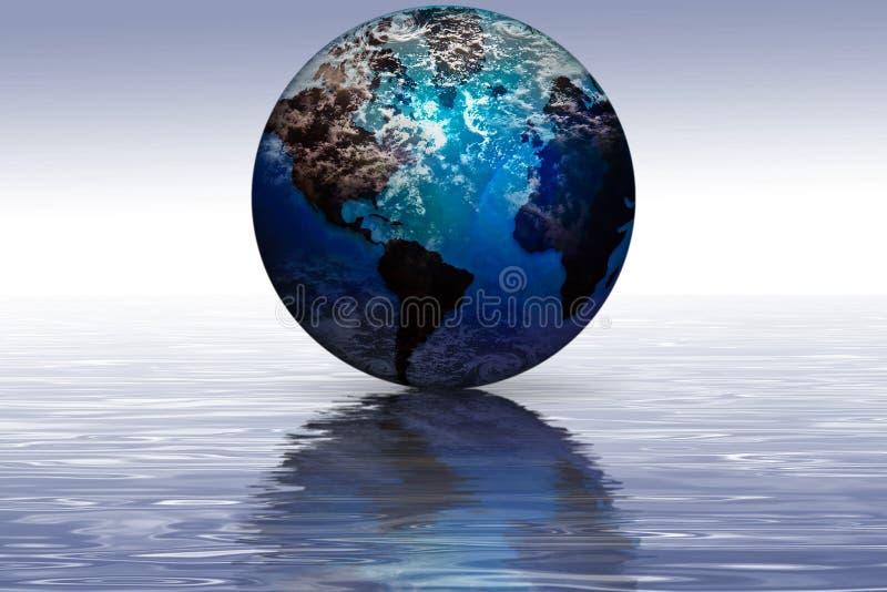 Riflessione della terra del pianeta fotografia stock