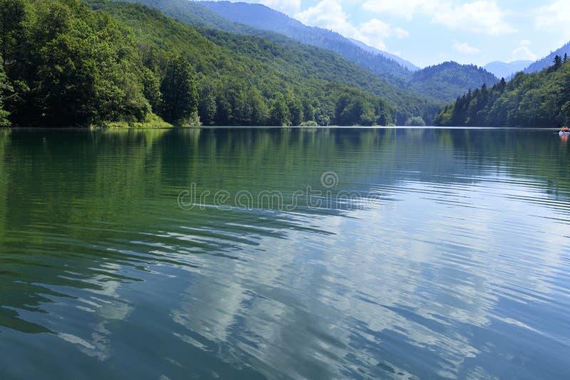Riflessione delle nuvole bianche nella superficie regolare di un lago della montagna della foresta fotografie stock libere da diritti