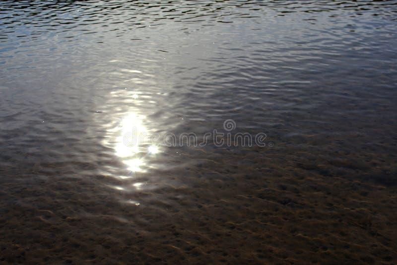 Riflessione di luce solare sulla superficie di acqua immagine stock