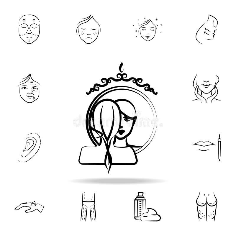 Riflessione di una ragazza in un'icona dello specchio Insieme dettagliato delle icone antinvecchiamento di procedura Progettazion illustrazione di stock