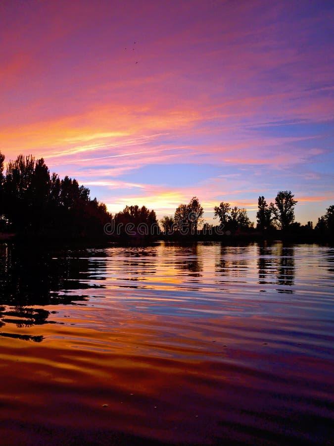 Riflessione pacifica porpora del fiume al tramonto immagine stock libera da diritti