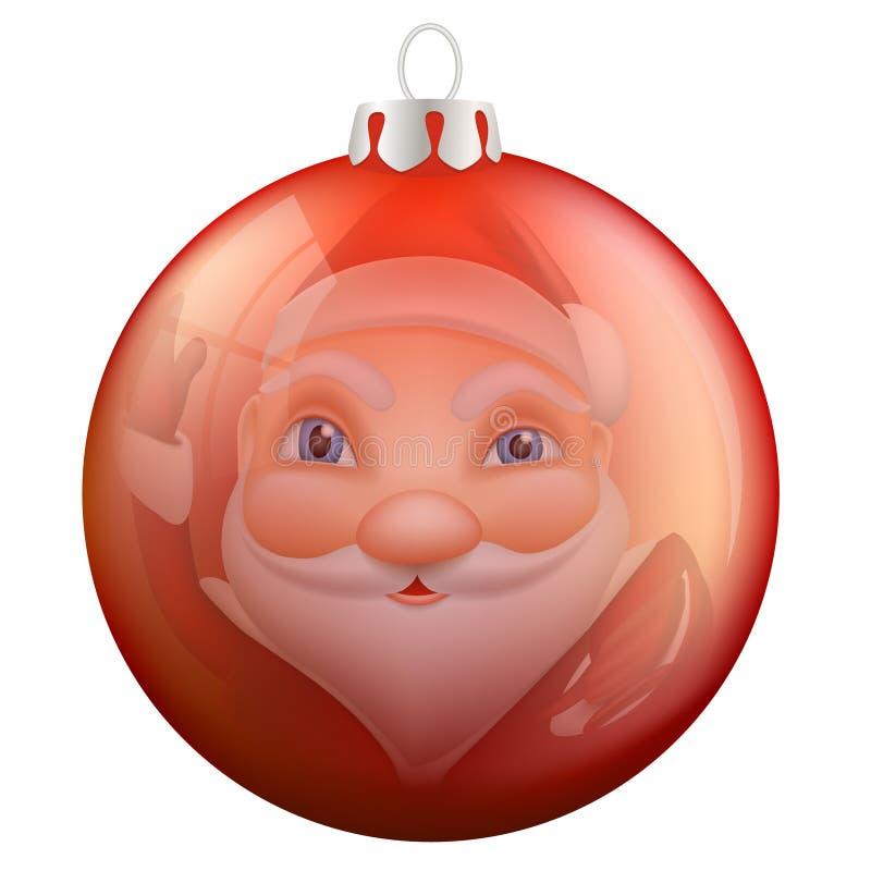 Riflessione Santa Claus nella palla di Natale illustrazione vettoriale