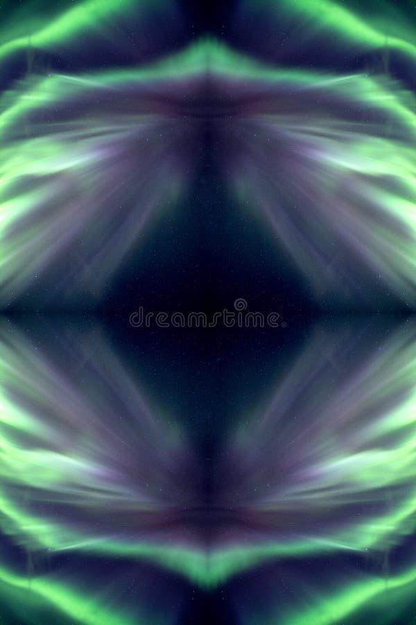Riflessione verde dell'aurora boreale in galassia immagini stock libere da diritti
