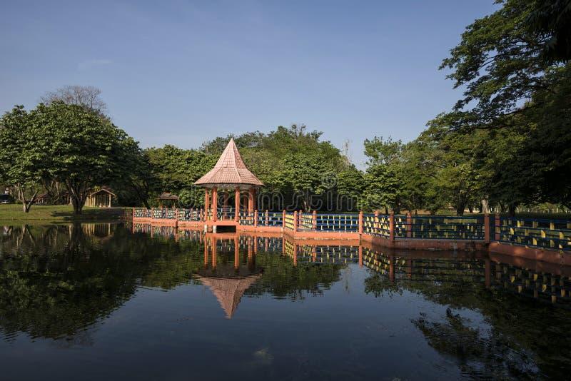 Riflessioni dell'acqua a Taman Tasik, in Taiping, Perak, Malesia fotografia stock
