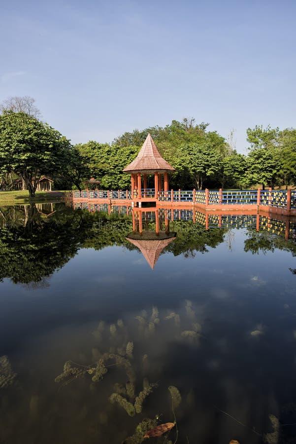 Riflessioni dell'acqua a Taman Tasik, in Taiping, Perak, Malesia fotografie stock