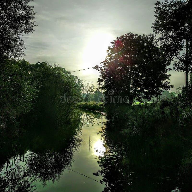 Riflessioni della riva del fiume fotografie stock