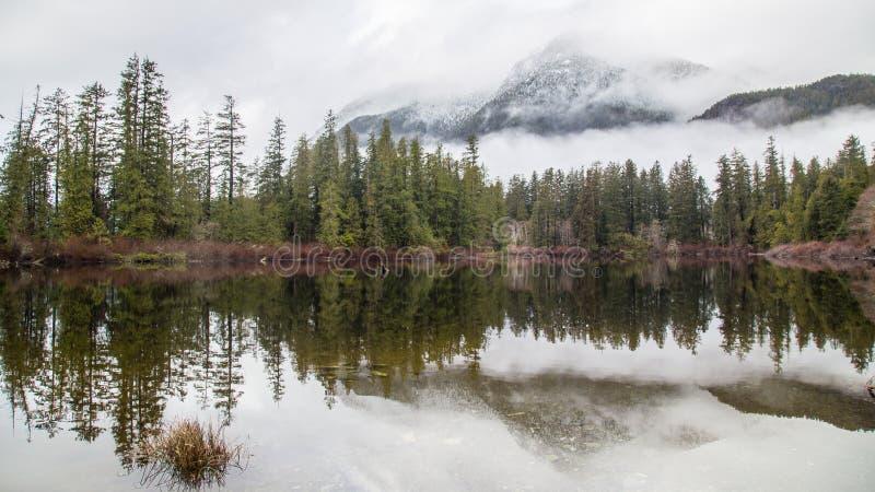 Riflessioni di inverno a Kennedy Lake Canada fotografia stock