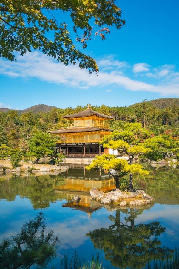 Riflessioni di mattina al padiglione dorato, Kyoto, Giappone fotografia stock libera da diritti