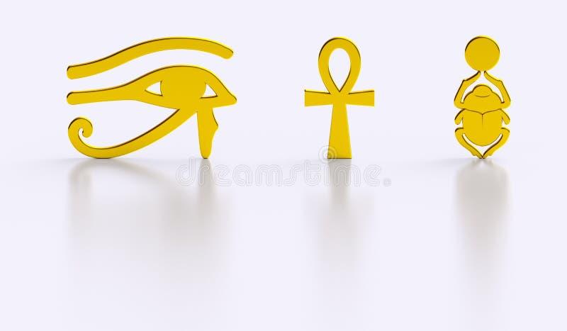 Riflessioni egiziane dorate di lucentezza di simboli illustrazione di stock