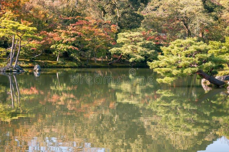 Riflessioni nello stagno al giardino giapponese in autunno, Kyoto, Giappone fotografia stock