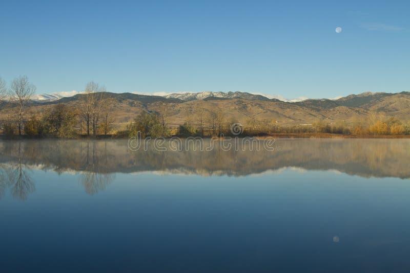 Riflessioni stabilite della luna di mattina del lago coot immagini stock