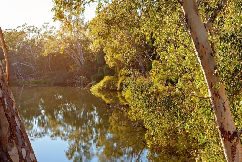 Riflessioni variopinte dell'acqua di fiume fotografia stock