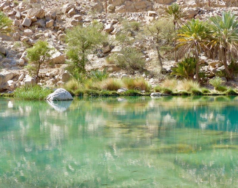 Riflessioni a Wadi Bani Khalid, Oman immagini stock libere da diritti