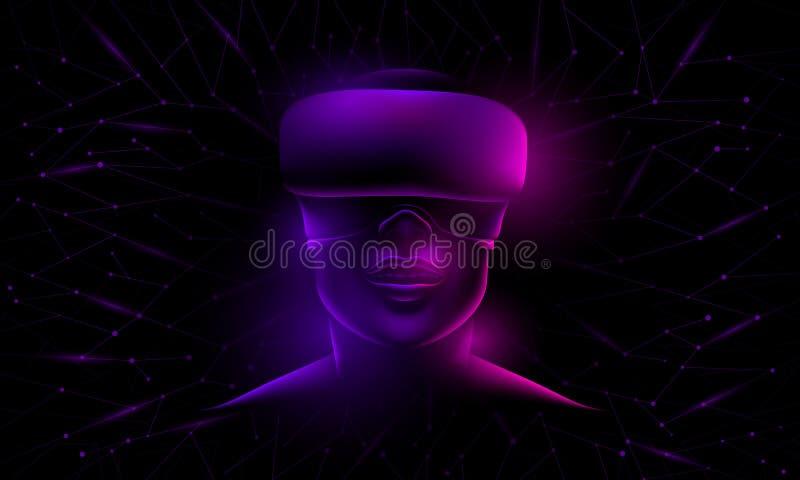 Riflesso al neon d'ardore su un fronte del ` s della donna con i vetri virtuali illustrazione vettoriale