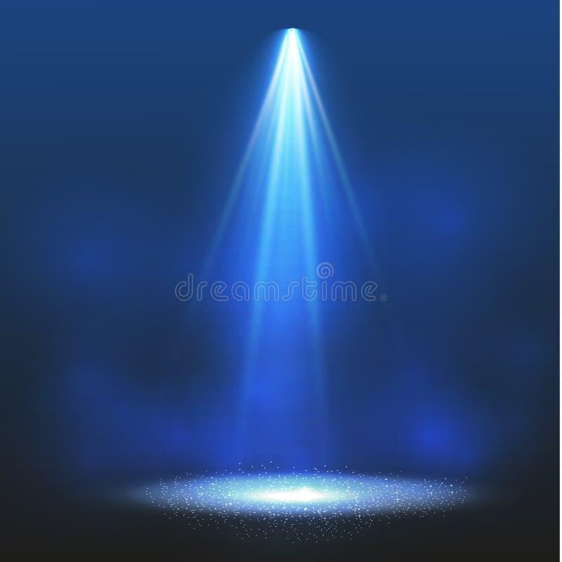 Riflettore di vettore Effetto della luce Illuminazione di scena, effetti trasparenti su un fondo di buio del plaid royalty illustrazione gratis