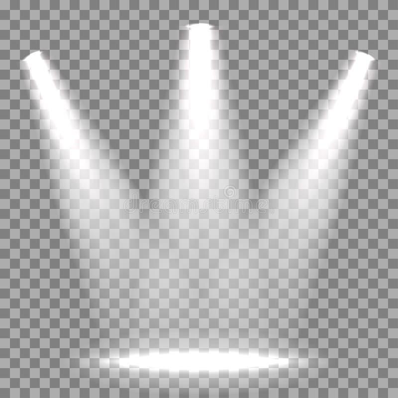 Riflettore illuminato vettore sul †trasparente del fondo « royalty illustrazione gratis