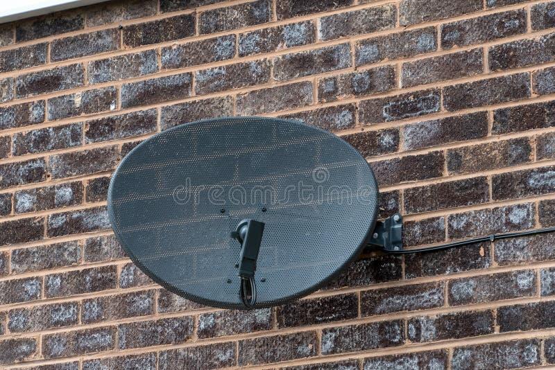 Riflettore parabolico della TV su un muro di mattoni fotografia stock