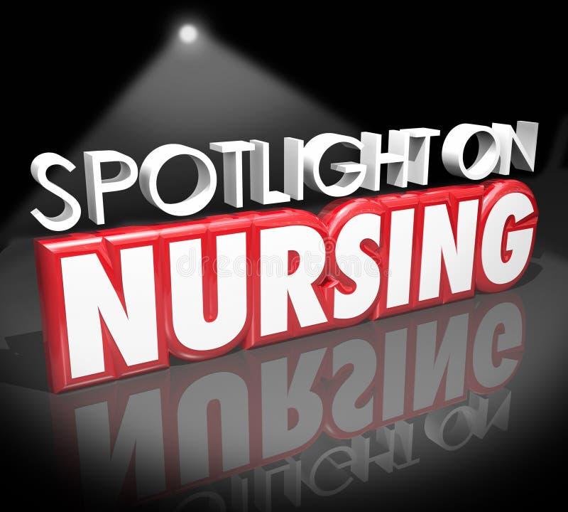 Riflettore sulla sanità medica Job Licensed Reg di carriera di professione d'infermiera illustrazione vettoriale