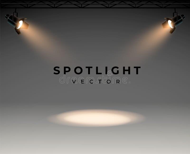 Riflettori con l'insieme brillante di vettore della fase della luce bianca luminosa Proiettore illuminato della forma di effetto, illustrazione vettoriale