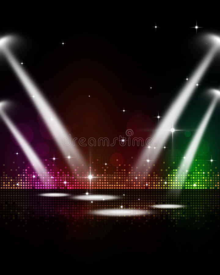 Riflettori della fase di musica della discoteca illustrazione vettoriale