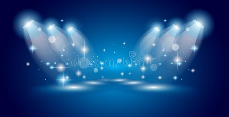 Riflettori di manifestazione del teatro con le stelle di American National Standard delle luci royalty illustrazione gratis