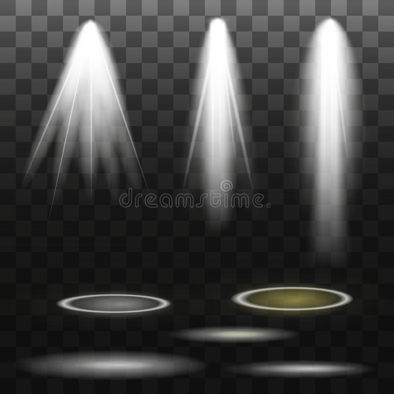 Riflettori di vettore scena Effetti della luce illustrazione di stock