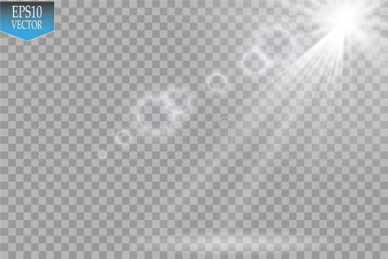 Riflettori di vettore scena Effetti della luce Effetto della luce speciale del chiarore della lente di luce solare trasparente di royalty illustrazione gratis