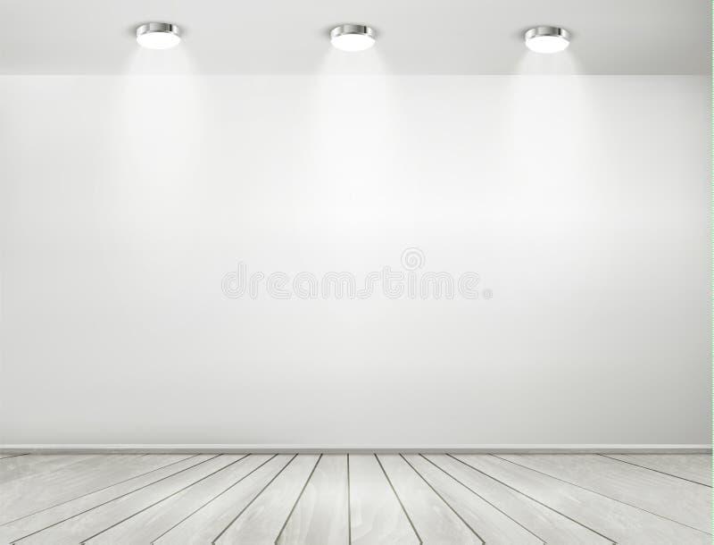 Riflettori grigi della stanza e pavimento di legno illustrazione vettoriale