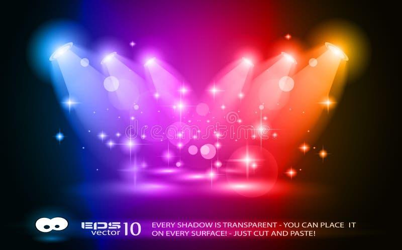 Riflettori magici con i raggi blu illustrazione vettoriale