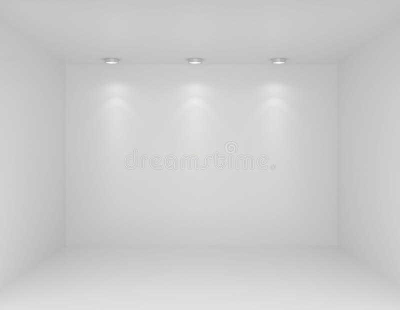 Riflettori nell'interno della galleria con la parete vuota illustrazione di stock