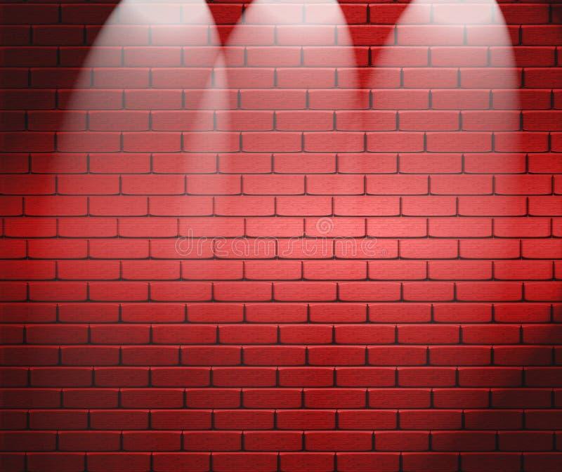 Riflettori sul muro di mattoni illustrazione di stock