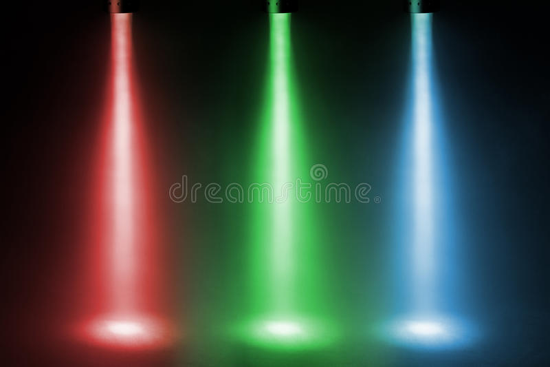 Riflettori a tre colori fotografia stock