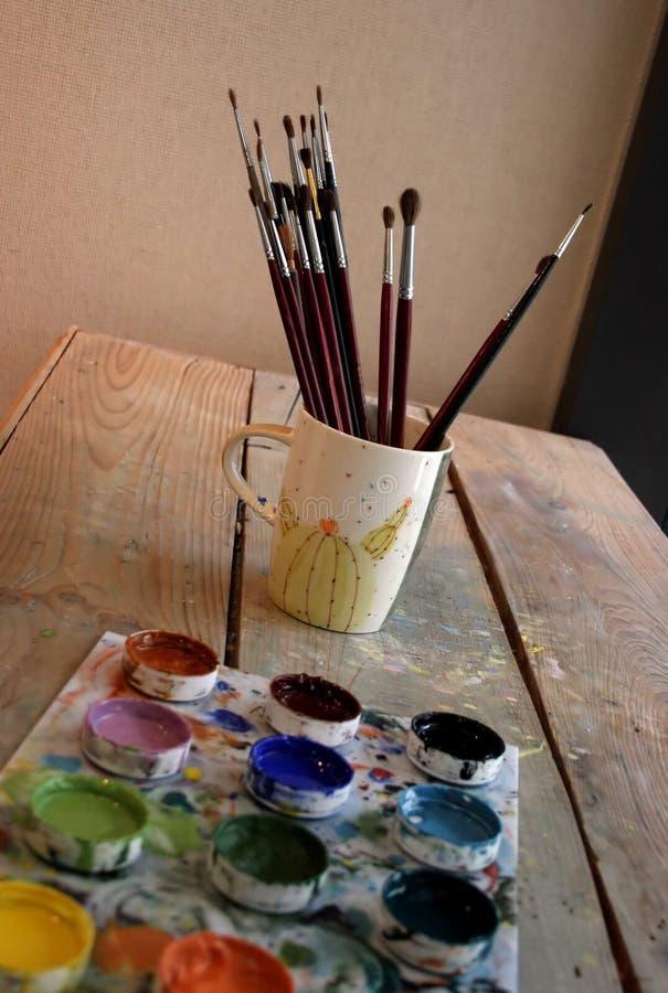 Rifornimenti dell'artista immagini stock libere da diritti