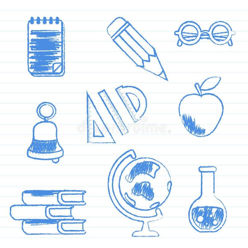 Rifornimenti di banco Metta delle illustrazioni di vettore alla pagina del manuale illustrazione vettoriale