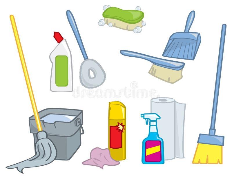 Rifornimenti di pulizia del fumetto illustrazione vettoriale