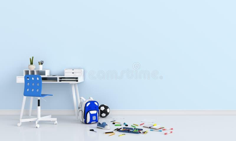 Rifornimenti di scuola nella stanza blu per il modello, di nuovo al concetto della scuola, rappresentazione 3D illustrazione vettoriale