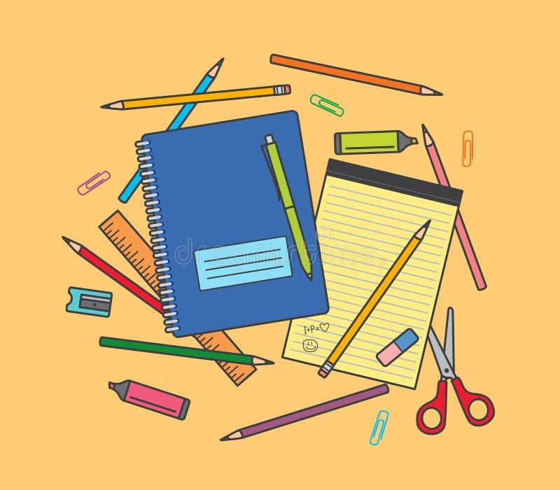 Rifornimenti di scuola su fondo arancio: taccuino, matite, penna, righello, forbici, gomma, temperamatite, penna ecc dell'evidenz illustrazione vettoriale