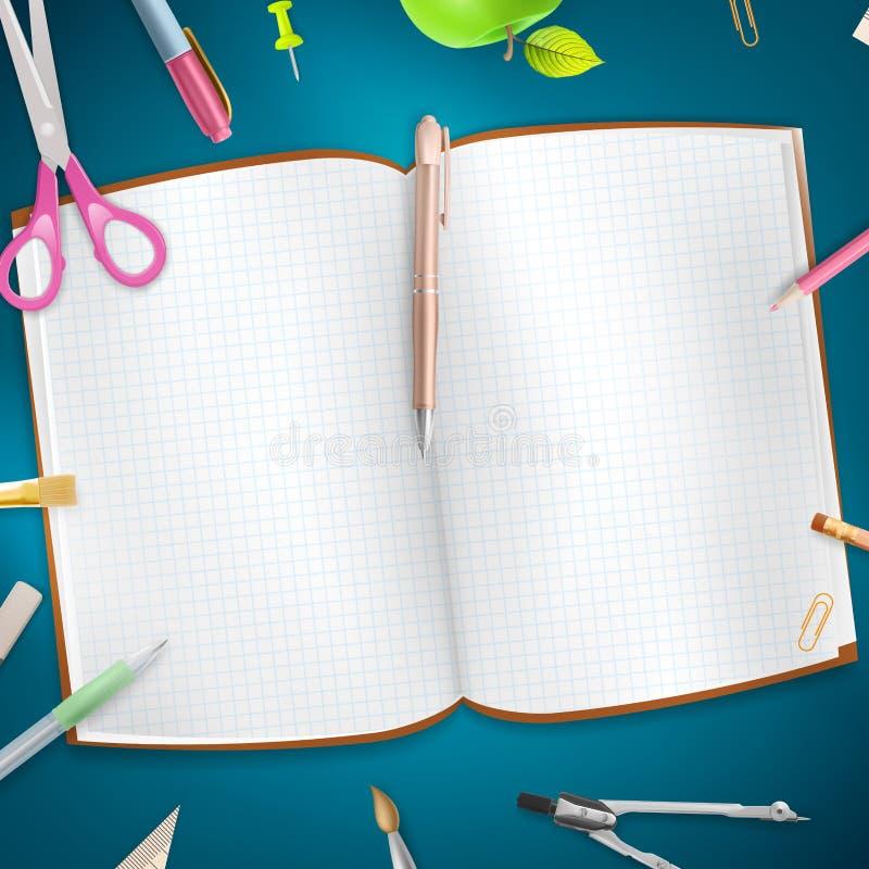 Download Rifornimenti Di Scuola Su Fondo Blu ENV 10 Fotografia Stock - Immagine di gruppo, nota: 56892572