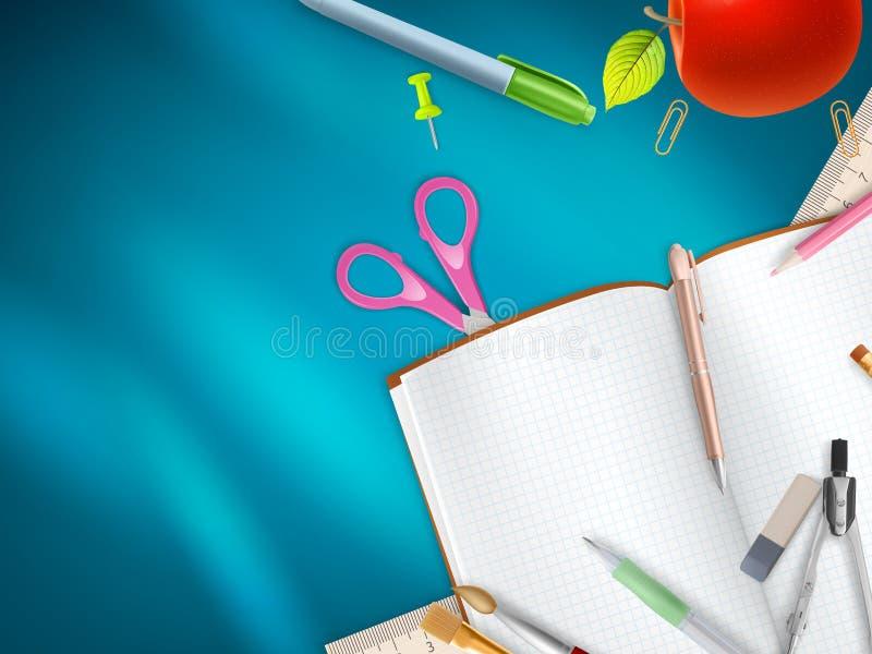 Download Rifornimenti Di Scuola Su Fondo Blu ENV 10 Immagine Stock - Immagine di strumenti, imparare: 56892591