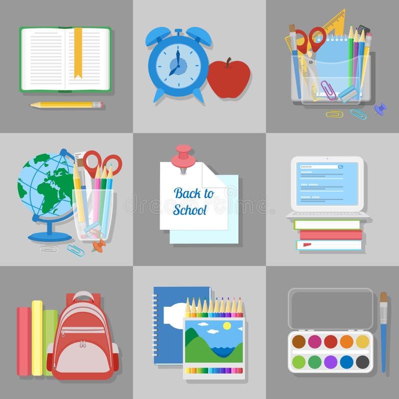 Rifornimenti ed elementi di scuola messi Di nuovo al banco Istruzione ed imparare royalty illustrazione gratis
