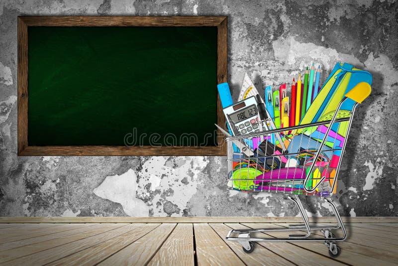 Rifornimenti scuola/dell'ufficio in carrello fotografie stock