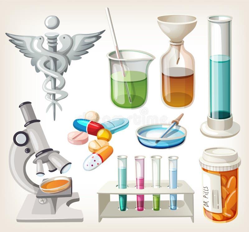 Rifornimenti utilizzati nella farmacologia per la preparazione della medicina. royalty illustrazione gratis