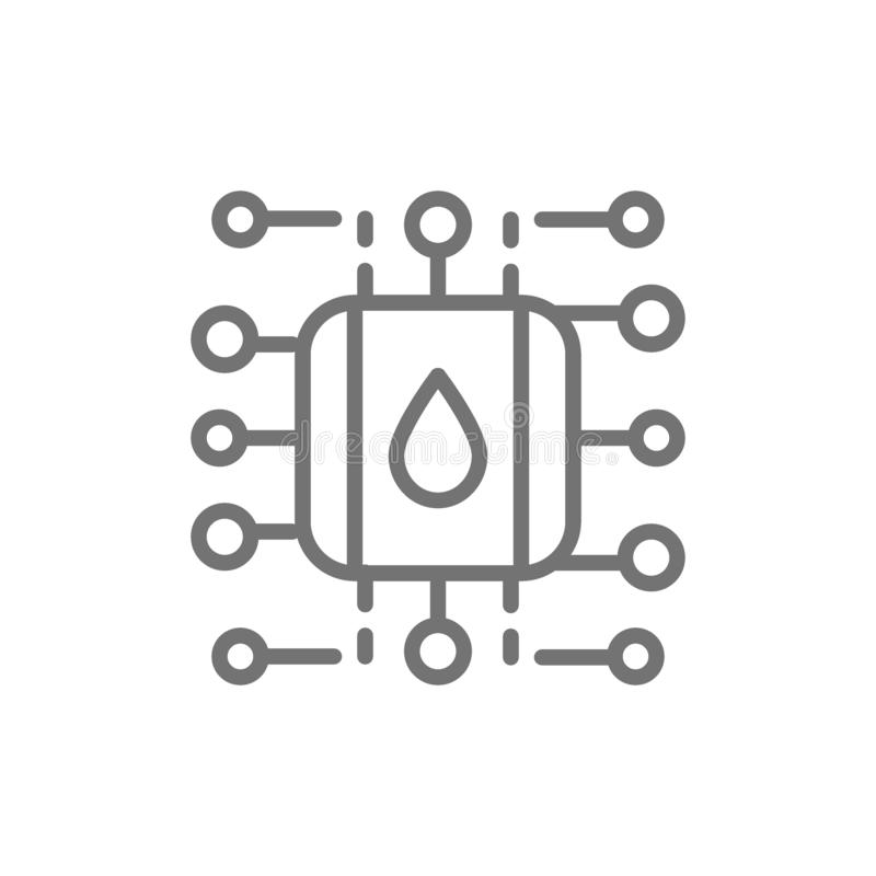 Rifornimento idrico e sistema di purificazione, linea astuta icona di schema del sistema del filtro illustrazione vettoriale