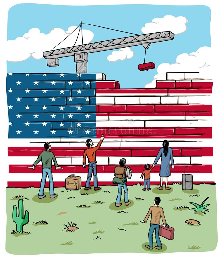 Rifugiati della gente davanti ad una bandiera della parete degli S.U.A. illustrazione vettoriale