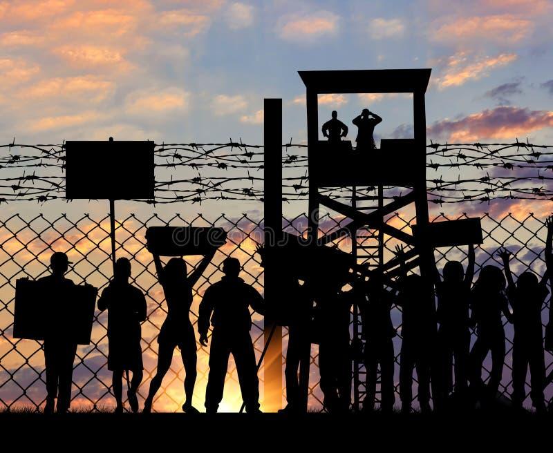 Rifugiati di protesta della siluetta vicino al confine fotografie stock