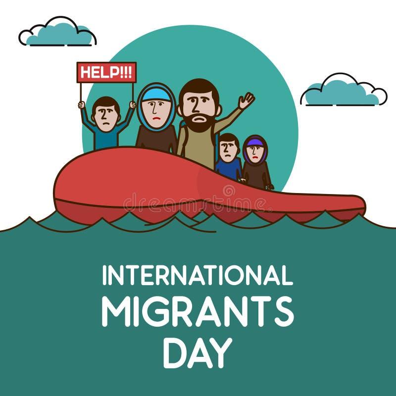 Rifugiati sulla barca in oceano aperto Aiutici Migra internazionale illustrazione di stock