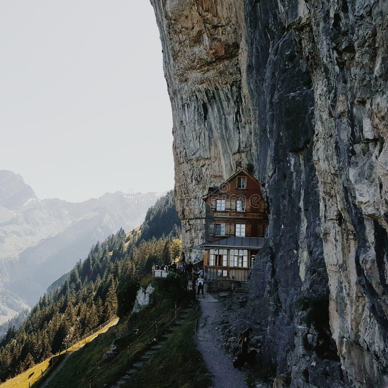 Rifugio di Aescher in Svizzera immagine stock