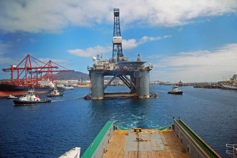 Rig move of an Semi submersible drilling rig stock photography