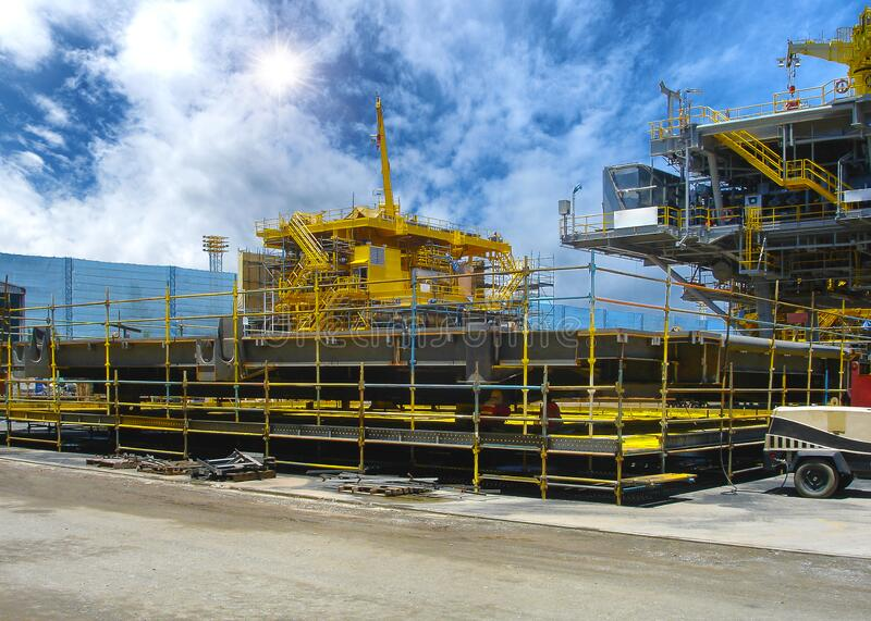 Rig platform during construction royalty free stock photography