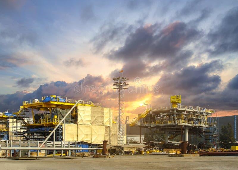 Rig platform during construction royalty free stock image